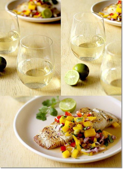 Riesling with Mahi Mahi with Mango Salsa on JillHough.com